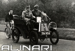 """Antique race car, manufactured by """"Renault"""" at the beginning of the 1900's, particepates in the """"London-Brighton"""" race, driven by the competitor C.G.H. Dunham."""