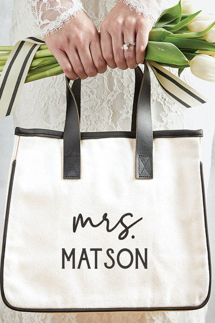 Mrs Mini Canvas Tote Bag With Leather Handles In 2020 Gifts For Wedding Party Personalized Bridal Shower Gifts Bride Gifts
