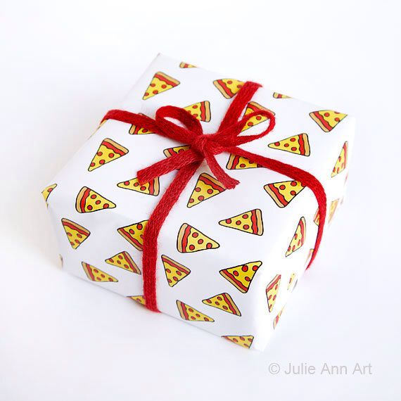 Funny Wrapping Paper - Geek Gift Wrap - Pizza by JulieAnnArt on Etsy https://www.etsy.com/listing/250994129/funny-wrapping-paper-geek-gift-wrap