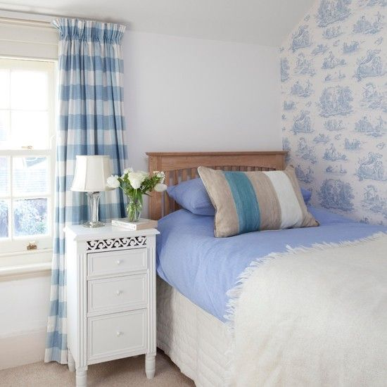 Pale blue toile and striped bedroom. So fresh and happy. But it would get dirty so easily!