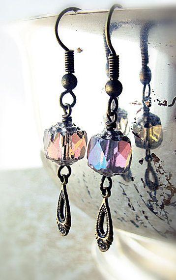 Glass Beaded Dangle Earrings, Iridescent Lavender, Antiqued Brass