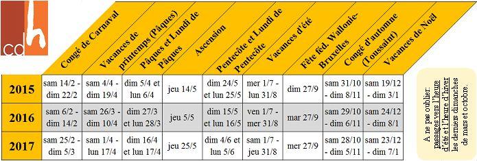 Voici les congés scolaires et jours de fêtes variables pour les trois années à venir. Pour info, les jours de fêtes fixes pour 2015 Jeudi 01/01/2015 Jour de l´an Vendredi 01/05/2015 Fête du travail...