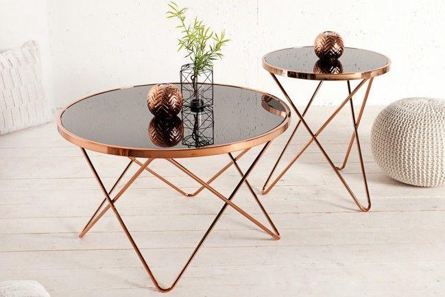 Stylischer Design Beistelltisch PONT 85cm kupfer / schwarz