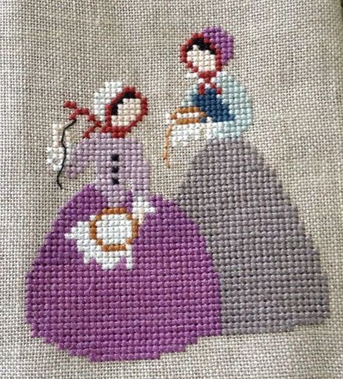 0 point de croix 2 femmes brodant - cross stitch 2 ladies embroidering