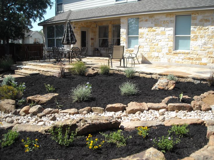Backyard landscape beautiful flagstone patio stairs for Dry scape landscaping