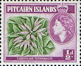 Stamps Pitcairn Islands 1957 SG 18 Plant Cordyline terminalis Fine Mint Scott 20 Other Pitcairn Island Stamps HERE