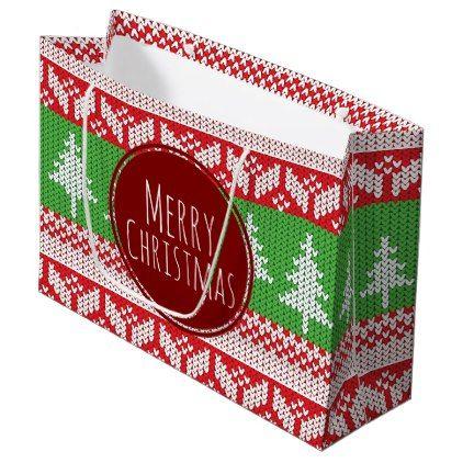 #Merry Christmas Trees Nordic Pattern Large Gift Bag - #Xmas #ChristmasEve Christmas Eve #Christmas #merry #xmas #family #kids #gifts #holidays #Santa