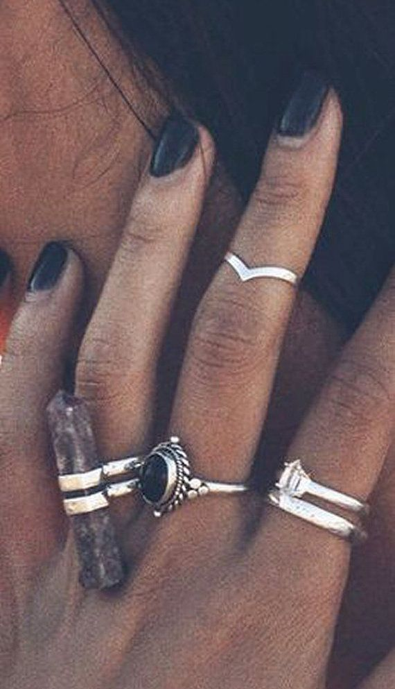 Sterling Silver Chevron Midi Ring Wishbone Midi by BohoYogaJewelry