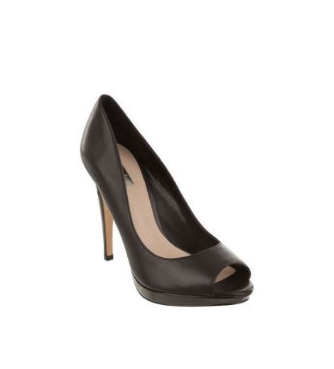 RMK - Maiora Black Heel  Metallic peep-toe pumps with almond-shape peep-toe and feature a smooth leather exterior.     Contrast metallic 12cm stiletto heel and matching 1.5cm platform.    Leather upper, Synthetic lining, Synthetic sole.    Was:$149.95 Now:$74.95