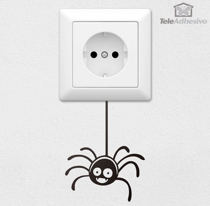 Vinilo decorativo Araña. Vinilo decorativo ideal para interruptor de luz o enchufe. #TeleAdhesivo #vinilo #decoración #enchufe #deco #pared