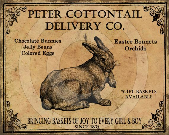 Primitive Easter Peter Cottontail Delivery Co Feedsack Feed Sack Logo Printable Digital JPEG Instant Download 4 Pillows Prints Labels Tags