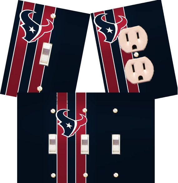 Houston Texans Light Switch Wall Plates Covers Nfl Room Decor Football Man Cave Bedroom Bar