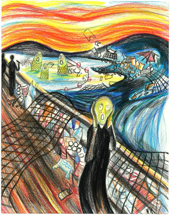 """""""Scream for Awareness"""" by Emily W., Honorable Mention Award Winner (Middle School) in the 2016 Ocean Awareness Student Contest #marinedebris #ocean #pollution #plastic #thescream #art"""