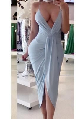 Cheap Sky Blue Irregular Ruched Backless Spaghetti Strap Deep V-neck Party Maxi Dress Online – Bychicstyle.com