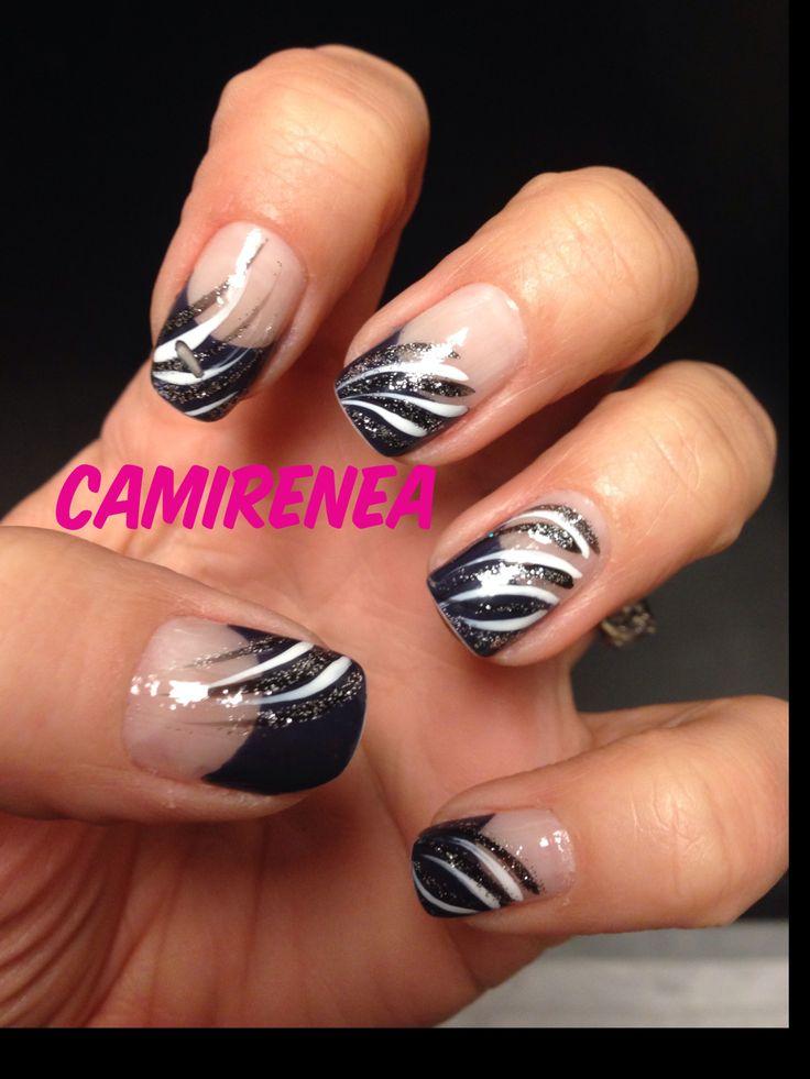 Nail Art Navy White Black My Nail Designs Pinterest