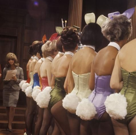 Bunny inspection at the Playboy Mansion in 1966.
