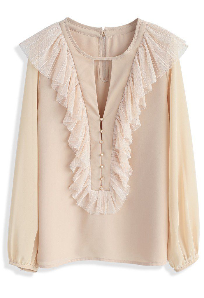 Now we're talking your language! This beige smock top totally says that less is everything.    - Mesh ruffles trimmed  - Inverted triangle cutout on bust  - Pearl button down closure  - Keyhole cutout with button to reverse  - Buttoned cuffs  - Not lined  - 100% polyester  - Hand wash cold    Size(cm)Length Bust Shoulder Sleeves  S/M         62    94    38