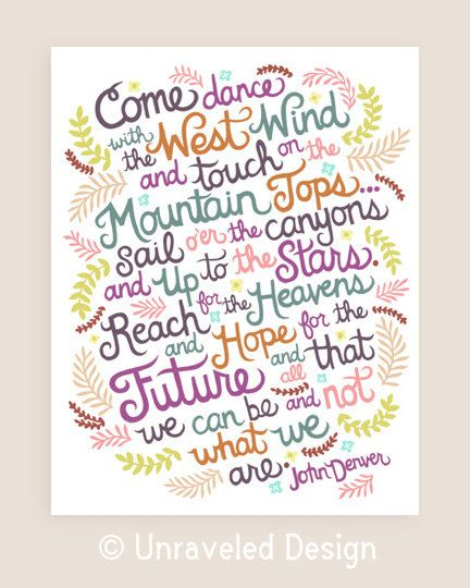 11x14-in John Denver Quote Illustration Print.