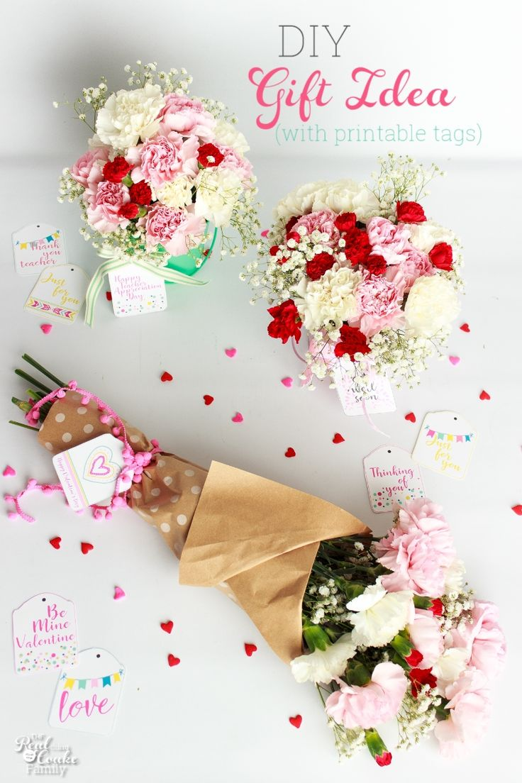 Pretty DIY gift! Cute free printable gift tags for Valentine's Day, Teacher Appreciation, Get Well soon and more. Great ideas for DIY gifts.