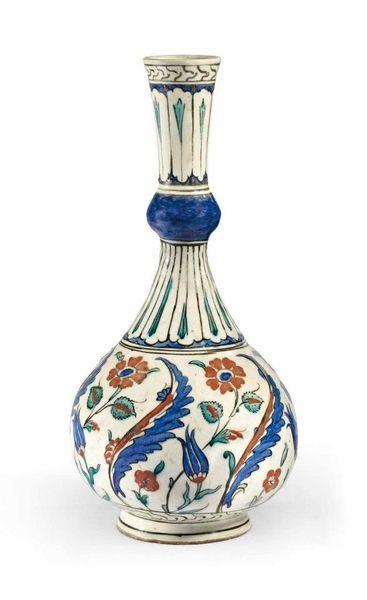 A Rare Iznik Pottery Water Bottle (Surahi), Ottoman Turkey, circa 1580.