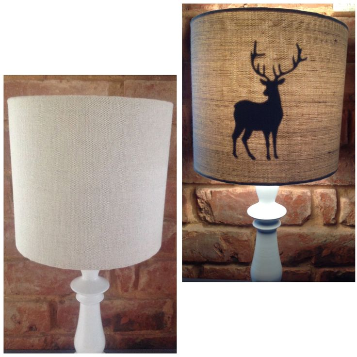 L A M P S H A D E. Secret STAG DEER Lampshade Handmade 20cm Drum Table Lamp shade Laura Ashley Neutral Natural Linen by SW4Interiors on Etsy