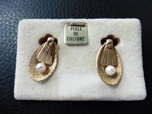 Boucles d/'oreilles Perle de culture en plaqué or NEUF