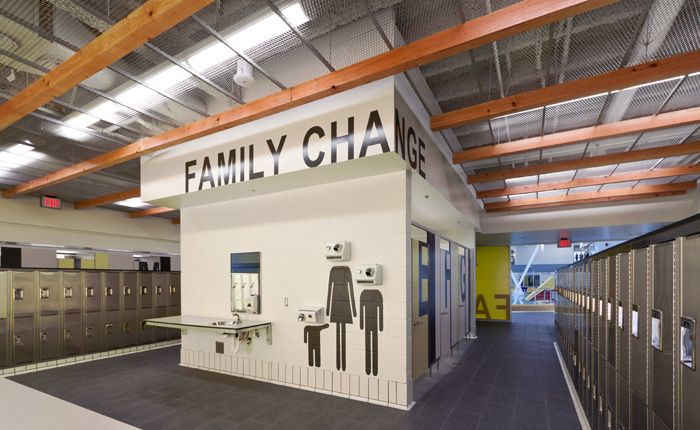 Carscadden Stokes McDonald Architects PENTICTON AQUATIC CENTRE universal change rooms sign
