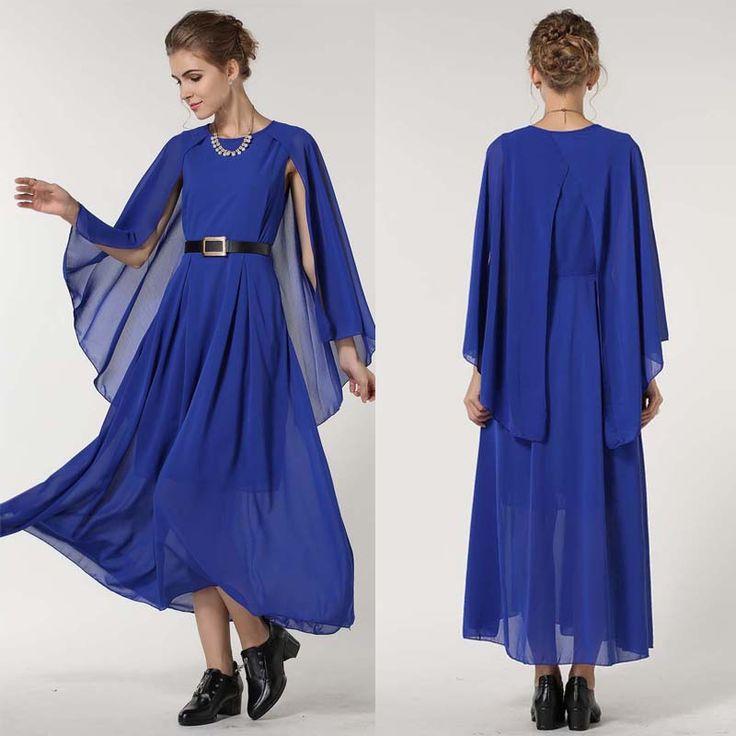 Blue Long Cape Dress