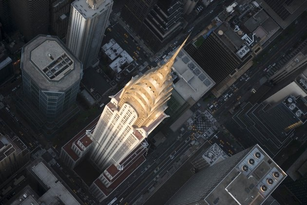 Top-down: The famous Chrysler Building at sunset (Jason Hawkes)
