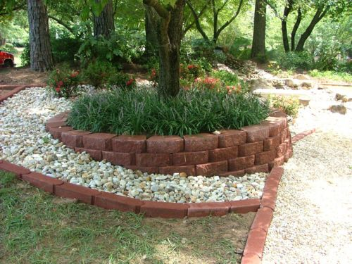 Landscaping around a fire pit retaining walls flagstone for Tree landscaping ideas