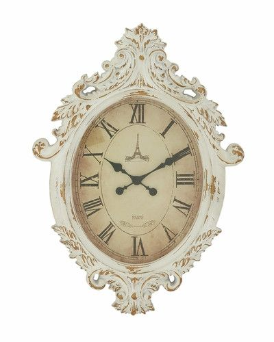 24x33 Large Shabby White Wall Clock French Country Cottage Chic Decor