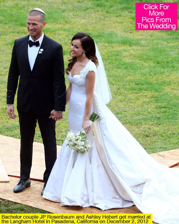 The 'Bachelorette' bride wore a custom-made Randi Rahm gown when she said 'I Do,' and married her fiance, J.P. Rosenbaum -- check out pics from Ashley and J.P.'s wedding, (and her gown!), right here! Ashley Hebert and J. P. Rosenbaum tied the knot on Dec.
