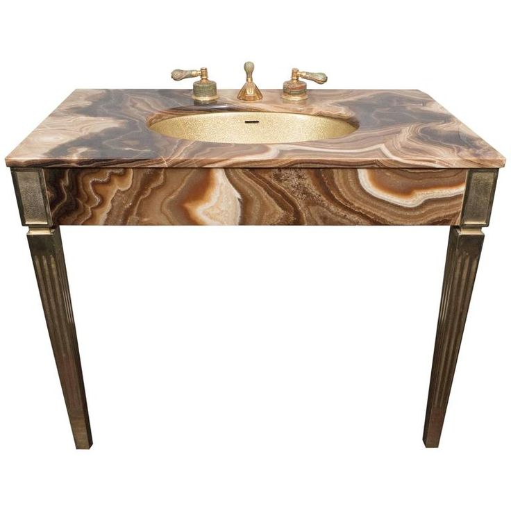 Sienna Marble Vintage Bathroom Vanity With Gold Glitter Sink By Sherle Wagner