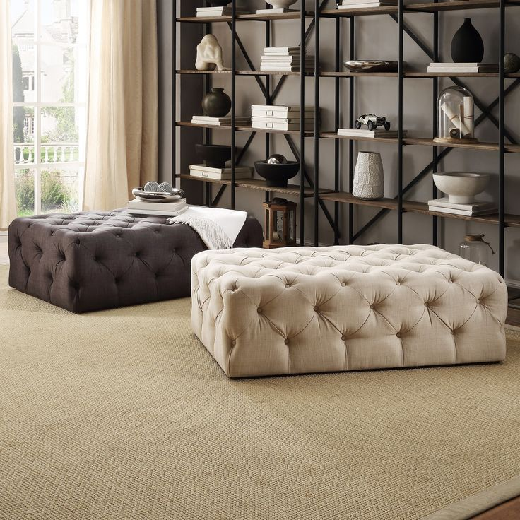 Knightsbridge+Rectangular+Linen+Tufted+Cocktail+Ottoman+with+Casters