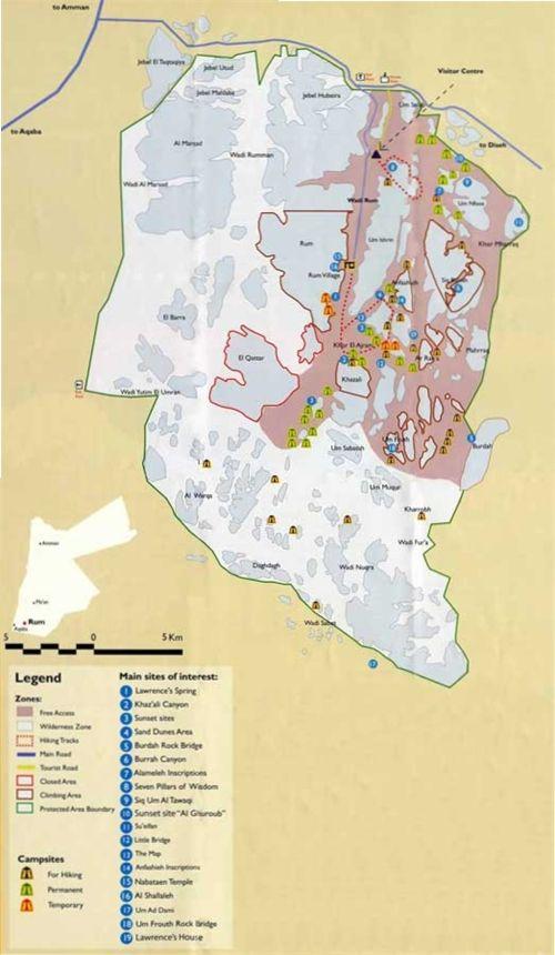 пустыня Вади Рам: Карта пустыни Вади Рам (Иордания)