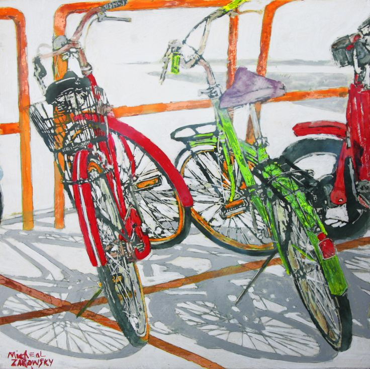 "Lido bikes (54) 16"" x 16"" x 1 1/2"" micheal zarowsky / Mixed media (watercolour / acrylic painted directly on gessoed birch panel)  Available $500.00"