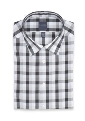 Madison Men's Long Sleeve Plaid Stretch Dress Shirt - Charcoal - 17-17.5 32/33