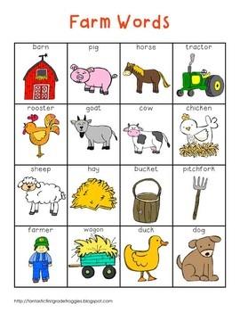 Writing Center Tools- Farm Words