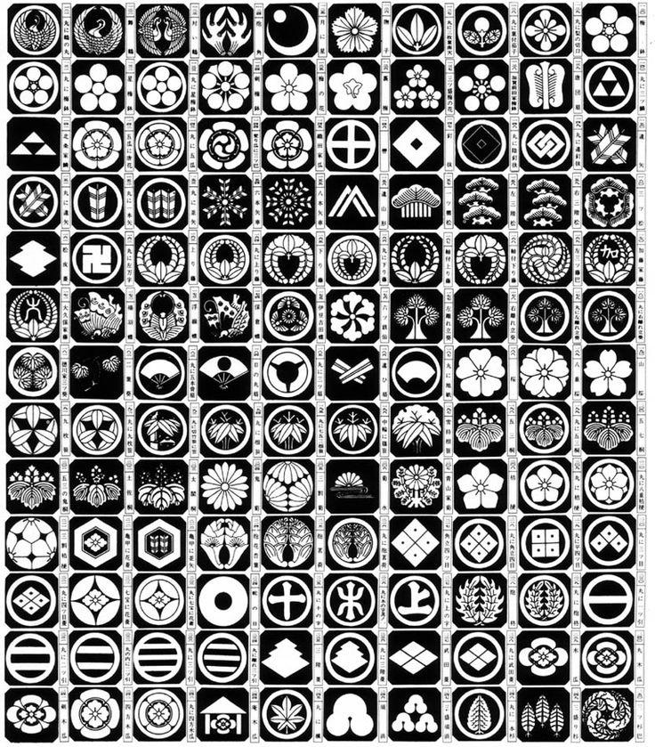 Kamon or family crests. Japan.