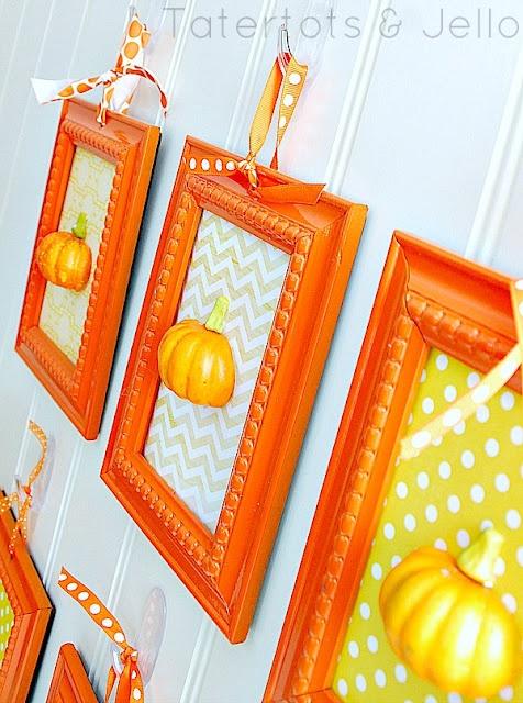 3D wall art using dollar store pumpkins cut in half.