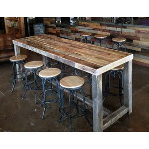 Reclaimed Wood Bar Restaurant Counter Community Rustic Custom Kitchen Coffee Cocktail Conference Off