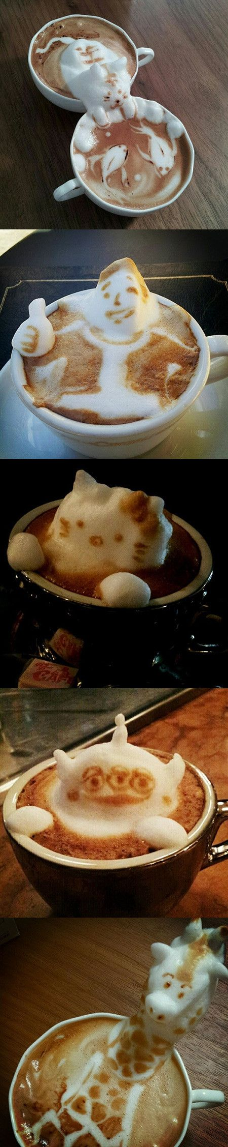 Late last year, we brought word of coffee artist Kazuki Yamamoto. He makes stunning cappuccino art. In the last few months, Yamamoto has been perfecting his three dimensional creations. He's gotten even better.