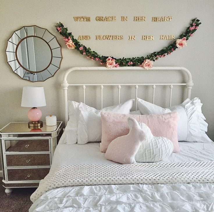 Black And Blush Pink Girls Room Decor: Daughters Room White With Hints Of Gold And Blush Pink