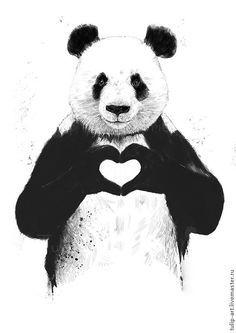 Купить Картинки для ткани и дерева (перевод утюгом) термотрансфер панда - иллюстрация, иллюстрации, термотрансфер