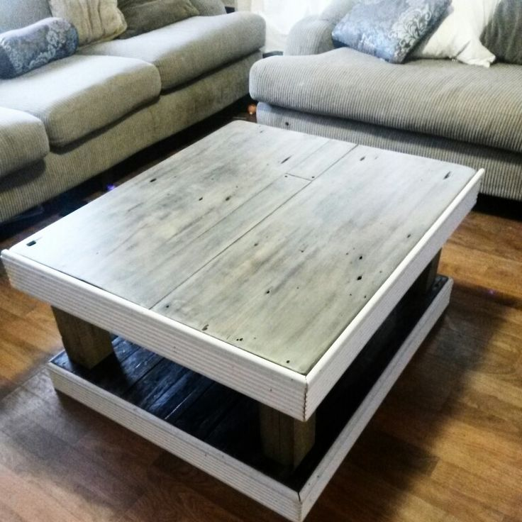 Diy coffee table from old reclaimed wood fluted moulding for Coffee tables 4x4