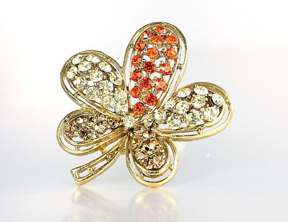 #vintage #VogueTeam #JewelryOnEtsy Five Leaf Clover Brooch, Vintage Orange Yellow Topaz Rhinestone Luck of the Irish jewelry