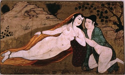 Two Lovers. miniature painting -Safavid period, ca 1630, Isfahan.