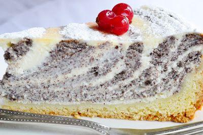 makovo-tvafohová zebra torta