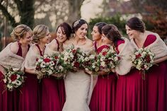 Love the rich red bridesmaid dresses and fur shawls for winter | Winter Wedding in a Tipi with Lace Fishtail Gown, Jenny Packham headpiece & Rachel Simpson shoes. Bridesmaids in Red dresses & fur stoles & Groomsmen in traditional tails via @rockmywedding by Lola Rose Photography