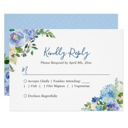 Blue Hydrangeas Floral Chic Wedding RSVP Reply Card - wedding invitations diy cyo special idea personalize card